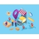 Isometric Delivery Service Cargo Package Parcel - GraphicRiver Item for Sale
