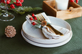 Festive table setting with winter decor. The concept of Thanksgiving or Christmas family dinner. - PhotoDune Item for Sale