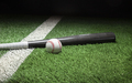 Baseball and gray bat on field with stripe and dark background - PhotoDune Item for Sale