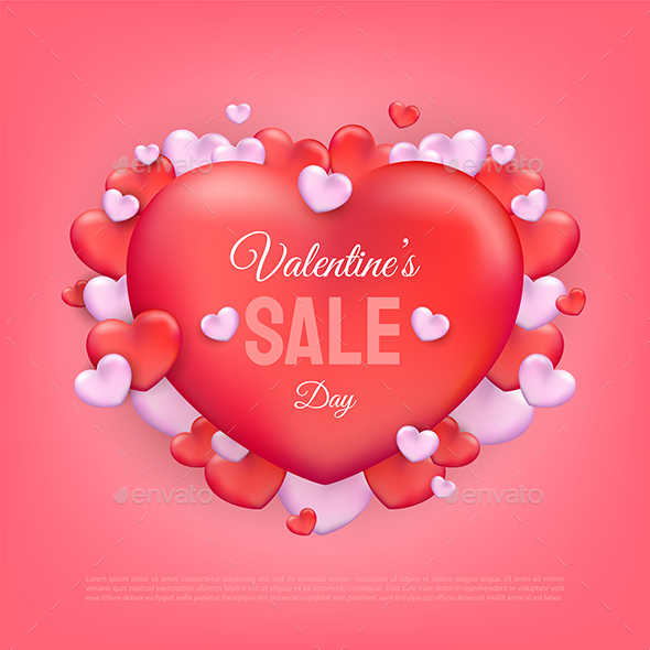 Valentines Day Sale Text with Red and Pink Hearts Background
