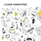Cloud Computing Isometric Outline Illustration - GraphicRiver Item for Sale