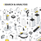 Search & Analysis Isometric Outline Illustration - GraphicRiver Item for Sale