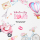 Watercolor Valentine's Day Clipart, Love Clipart - GraphicRiver Item for Sale