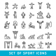 Fitness Exercise Workout Line Icons - GraphicRiver Item for Sale
