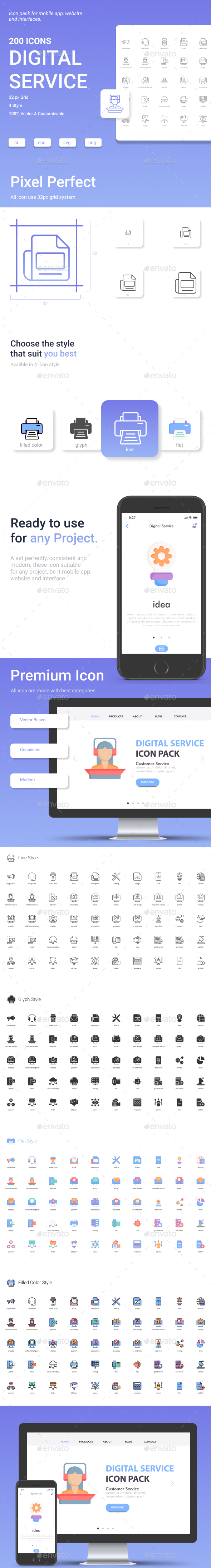 Digital Service Icon Set.