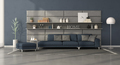 Modern living room with sofa in front of a leather panel with shelves - PhotoDune Item for Sale