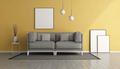 White minimalist living room with yellow sofa - PhotoDune Item for Sale