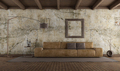 Modern leather sofa in room with old wall - PhotoDune Item for Sale