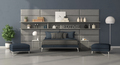 Modern bedroom with double bed in front of a leather panel with shelves - PhotoDune Item for Sale