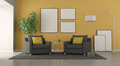 Black armchair in a modern living room - PhotoDune Item for Sale