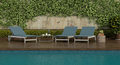 Blue deck chairs by the pool on a wooden floor - PhotoDune Item for Sale