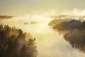 High angle view of misty lake and pine trees at sunrise in the boundary waters of Minnesota - PhotoDune Item for Sale