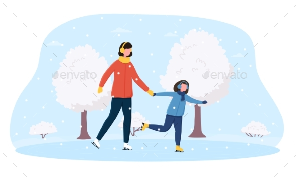 Happy Mother and Her Daughter Ice Skating