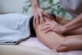Caucasian woman getting a leg massage in the spa salon. Body care concept. - PhotoDune Item for Sale