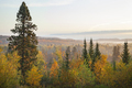 Early morning view of a misty valley in the Sawtooth Mountains of northern Minnesota during autumn - PhotoDune Item for Sale