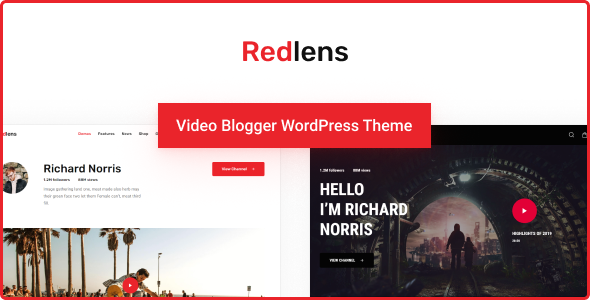 Redlens - Video Blogger WordPress Theme