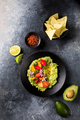 Guacamole is a Traditional Mexican Sauce with Nachos.Vegetarian dish. - PhotoDune Item for Sale