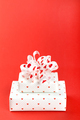Gift Box with ribbon Red Background Valentines Day Present - PhotoDune Item for Sale