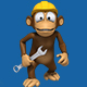 Mechanic Monkey In a Helmet Holding Wrench (6-Pack) - VideoHive Item for Sale