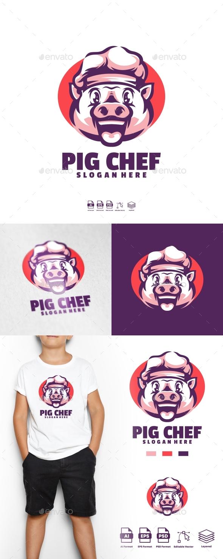 Pig chef logo template