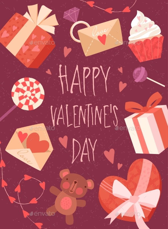 Happy Valentines Day Card Design with Gifts