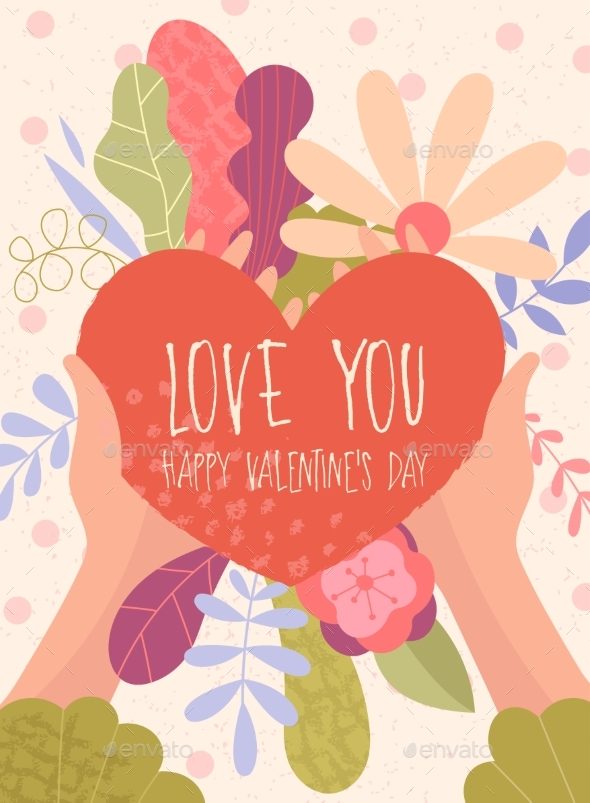 Love You Happy Valentines Day Card Design