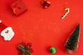 Christmas festive and decoration on red background with glitter and copy space, Top view - PhotoDune Item for Sale
