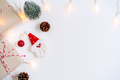 Christmas festive and decoration on white background and copy space, Top view - PhotoDune Item for Sale