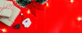 Christmas festive and decoration on red background and copy space, Top view - PhotoDune Item for Sale