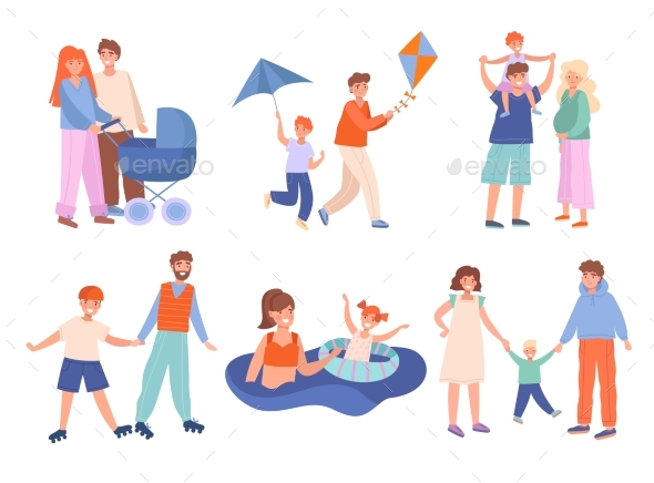 Young Families Following Assorted Activities