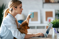 Lovely dog looking the laptop while her beautiful owner working with him in living room at home. - PhotoDune Item for Sale