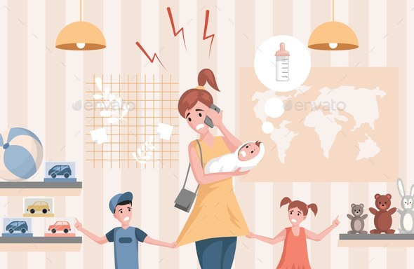 Multitasking Woman with Children Vector Flat