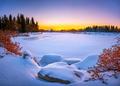 Vibrant winter landscape. Frozen lake - PhotoDune Item for Sale