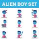 Alien Boy Sticker Set - GraphicRiver Item for Sale