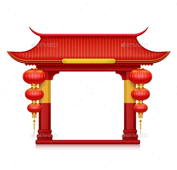 Chinese Lanterns Gates Realistic Composition