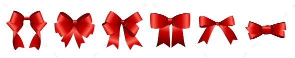 Realistic Red Ribbon and Bow Set for Your Design