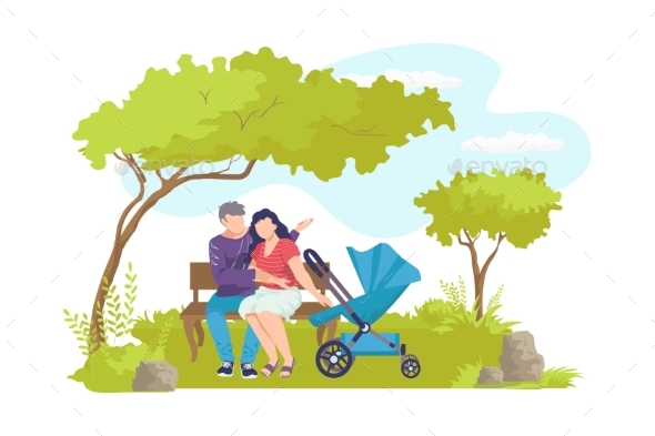 Family with Pram Sitting at Bench Cartoon Man