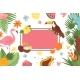 Tropical Banner Exotic Frame with Palm Leaf - GraphicRiver Item for Sale