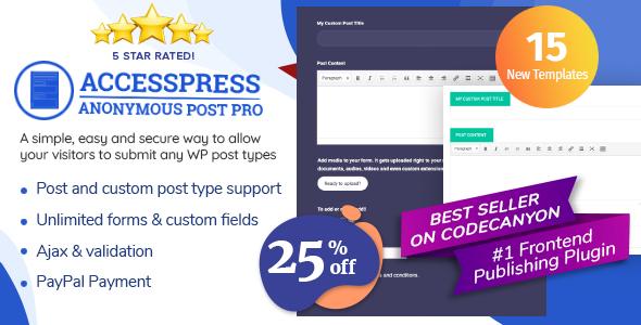 AccessPress Anonymous Post Pro – Frontend Publishing WordPress Plugin