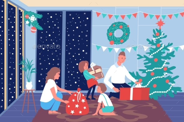 Christmas Family Home Composition