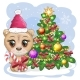 Cartoon Bear with Big Eyes in a Christmas Hat - GraphicRiver Item for Sale