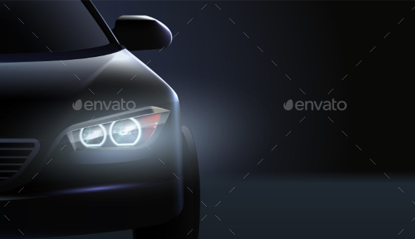 Car Headlights Ad Composition