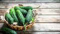 Green cucumbers in the basket. - PhotoDune Item for Sale