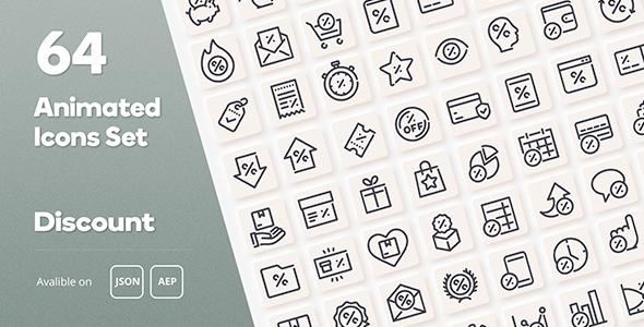 Discount Animated Icons Set - Wordpress Lottie JSON SVG