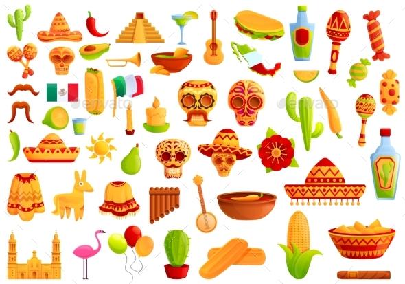 Mexico Icons Set Cartoon Style
