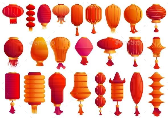 Chinese Lantern Icons Set Cartoon Style