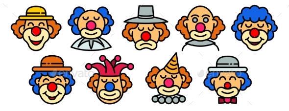 Clown Icons Set Outline Style
