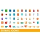 50 Mail Icons Set Cartoon Style - GraphicRiver Item for Sale
