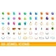 60 Jewel Icons Set Cartoon Style - GraphicRiver Item for Sale