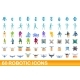 60 Robotic Icons Set Cartoon Style - GraphicRiver Item for Sale